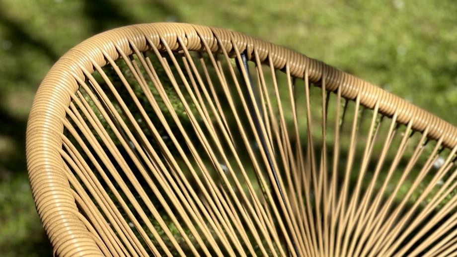 NORMA Salon de jardin 4 places en métal et corde