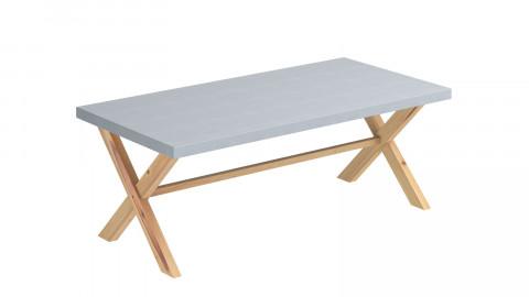 Ensemble table de jardin 8 personnes en fibre de ciment Robin + 4 chaises scandinaves blanches avec pieds en bois massif Suzy