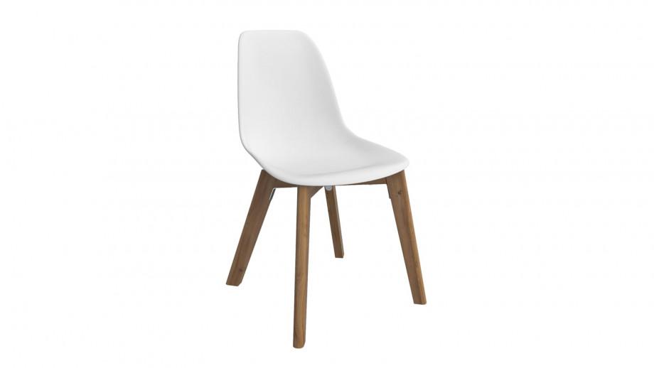 Ensemble table de jardin 8 personnes en fibre de ciment Robin + 8 chaises scandinaves blanches avec pieds en bois massif Suzy