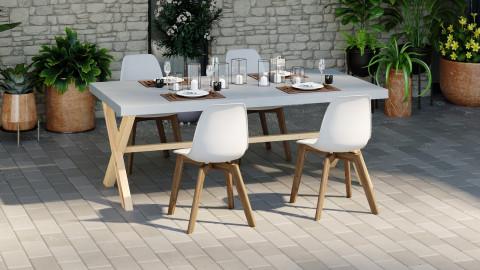 Ensemble table de jardin 6 à 8 pl. en fibre de ciment Robin + 4 chaises scandinaves blanches avec pieds en bois massif Suzy