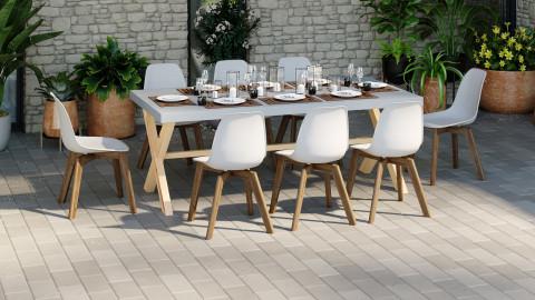 Ensemble table de jardin 6 à 8 pl. en fibre de ciment Robin + 8 chaises scandinaves blanches avec pieds en bois massif Suzy