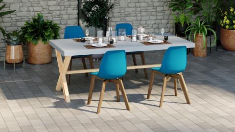 Ensemble table de jardin 6 à 8 personnes en fibre de ciment Robin + 4 chaises scandinaves bleues avec pieds en bois massif Suzy