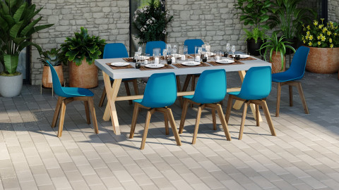 Ensemble table de jardin 6 à 8 personnes en fibre de ciment Robin + 8 chaises scandinaves bleues avec pieds en bois massif Suzy