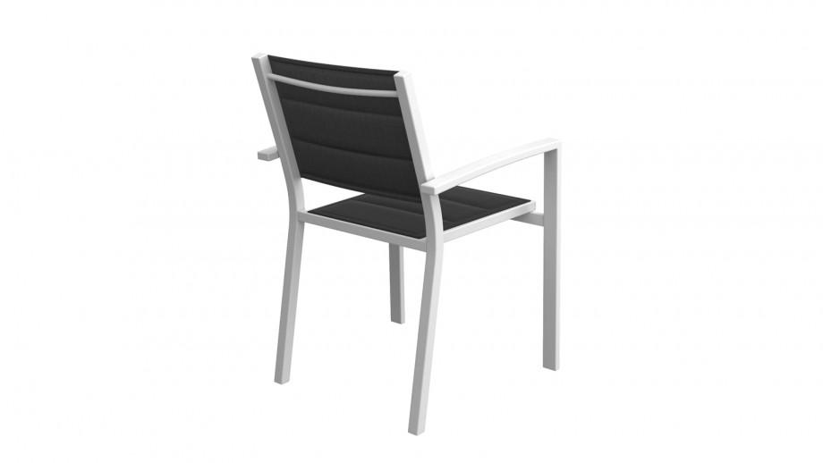 Ensemble table de jardin extensible 8 à 12 personnes aluminium noire Owen + 12 fauteuils blancs Tony