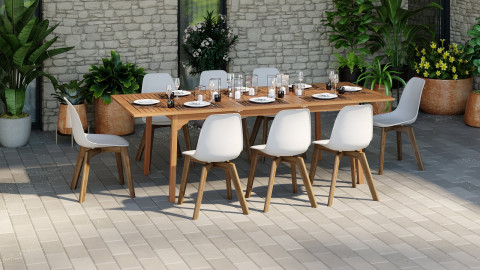 Ensemble table de jardin 8 personnes en bois d'eucalyptus Lyam + 8 chaises scandinaves blanches avec pieds en bois massif Suzy