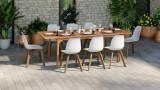 Ensemble table de jardin extensible 8 pers en bois d'eucalyptus Lyam + 8 chaises scandinaves blanches Suzy