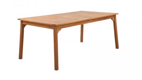 Ensemble table de jardin 8 personnes en bois d'eucalyptus Lyam + 4 chaises scandinaves bleues avec pieds en bois massif Suzy