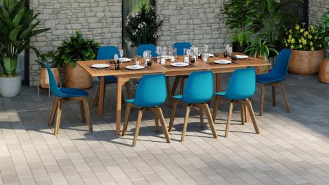 Ensemble table de jardin 8 personnes en bois d'eucalyptus Lyam + 8 chaises scandinaves bleues avec pieds en bois massif Suzy