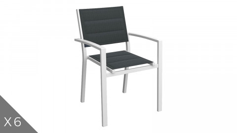 Lot de 6 fauteuils de jardin en aluminium blanc - Collection Tony