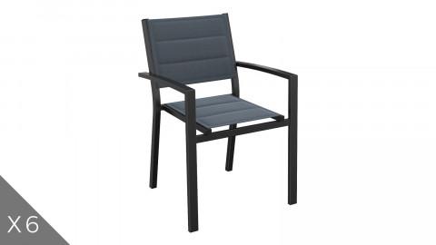 Lot de 6 fauteuils de jardin en aluminium noir - Collection Tony