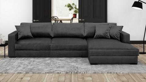 Canapé d'angle droit convertible 5 places en velours gris avec coffre de rangement - Collection Robin
