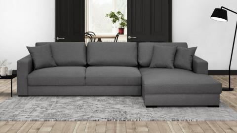 Canapé d'angle droit convertible 5 places en tissu gris souris avec coffre de rangement - Collection Robin