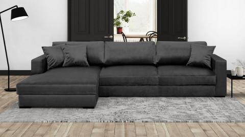 Canapé d'angle gauche convertible 5 places en velours gris avec coffre de rangement - Collection Robin