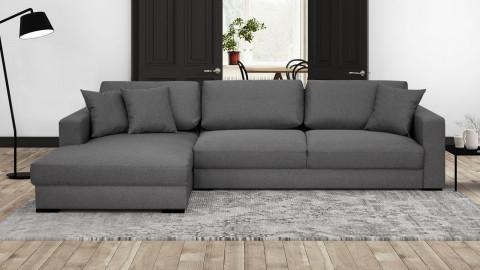 Canapé d'angle gauche convertible 5 places en tissu gris souris avec coffre de rangement - Collection Robin