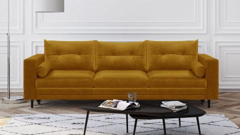 Canapé 3 places convertibles en velours jaune moutarde - Collection Viktor
