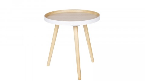 Table basse 40x40cm bois et blanc - Collection Sasha - Woood