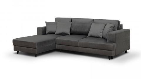 Canapé d'angle gauche convertible 4 places en velours gris - Collection Marceau