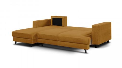 Canapé d'angle gauche convertible 4 places en velours jaune moutarde - Collection Marceau