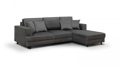 Canapé d'angle droit convertible 4 places en velours gris - Collection Marceau