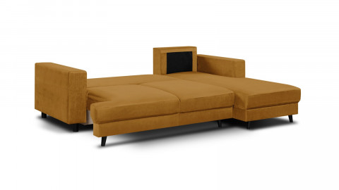 Canapé d'angle droit convertible 4 places en velours jaune moutarde - Collection Marceau