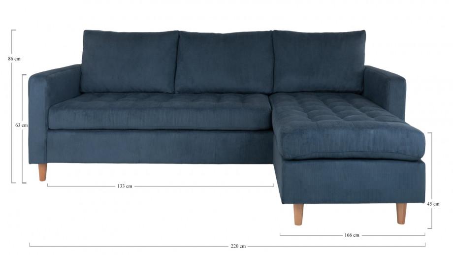 Canapé d'angle réversible en velours côtelé bleu - Collection Firenze - House Nordic