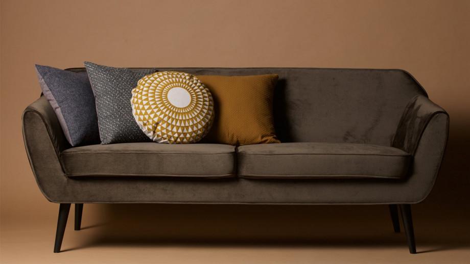 Sofa en Velours vert chaud – Collection Rocco – Woood