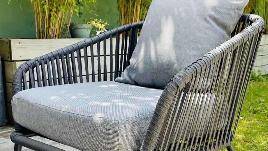 Salon de jardin 5 places en aluminium et corde coussins gris chiné - Collection Saturday