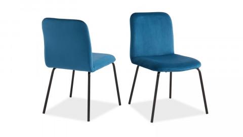 Lot de 2 chaises en velours bleu canard piètement en métal noir - Collection Sophie - ELLE DECO