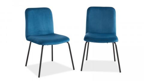 Lot de 2 chaises en velours bleu canard piètement en métal noir - Collection Sophie - Elle Décoration