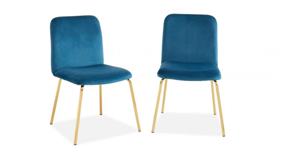 Lot de 2 chaises en velours bleu canard piètement en métal doré - Collection Sophie - ELLE DECO