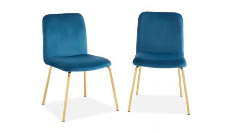 Lot de 2 chaises en velours bleu canard piètement en métal doré - Collection Sophie - Elle Décoration