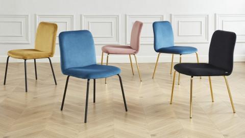 Lot de 2 chaises en velours noir piètement en métal doré - Collection Sophie - ELLE DECO