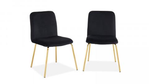 Lot de 2 chaises en velours noir piètement en métal doré - Collection Sophie - Elle Décoration