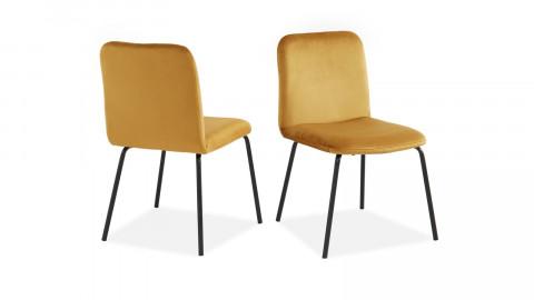 Lot de 2 chaises en velours jaune moutarde piètement en métal noir - Collection Sophie - ELLE DECO