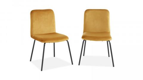Lot de 2 chaises en velours jaune moutarde piètement en métal noir - Collection Sophie - Elle Décoration