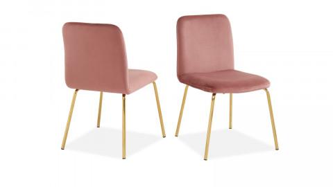 Lot de 2 chaises en velours rose piètement en métal doré - Collection Sophie - ELLE DECO