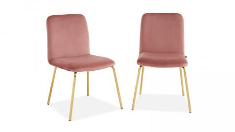 Lot de 2 chaises en velours rose piètement en métal doré - Collection Sophie - Elle Décoration