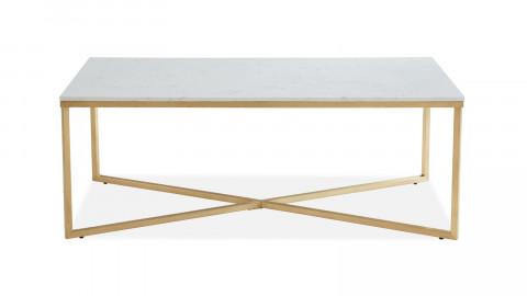 Table basse rectangulaire marbre blanc & métal doré - Bowie - ELLE DECORATION