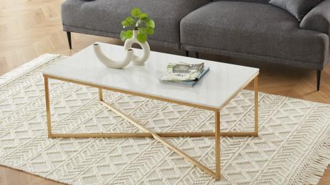 Elle Déco - BOWIE - Table basse rectangulaire en pierre façon marbre blanc - L120cm