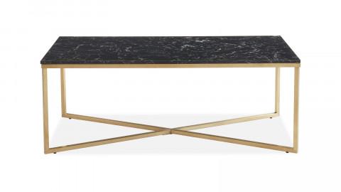 Table basse rectangulaire marbre noir & métal doré - Bowie - ELLE DECORATION