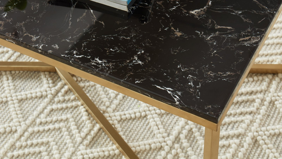 Elle Déco - BOWIE - Table basse rectangulaire en pierre façon marbre noir - L120cm