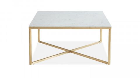 Table basse carrée marbre blanc & métal doré - Bowie - ELLE DECORATION