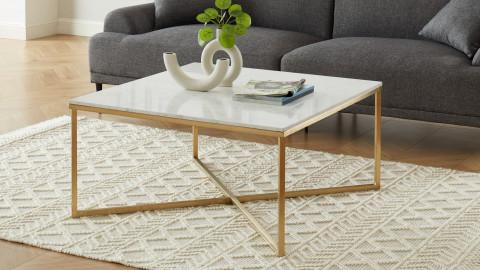 Elle Déco - BOWIE - Table basse carrée en pierre façon marbre blanc - L90cm