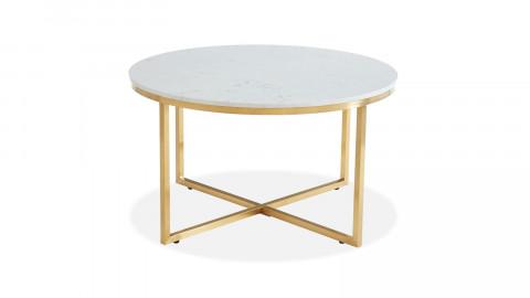 Table basse ronde marbre blanc & métal doré - Floyd - ELLE DECORATION