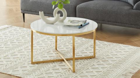 Elle Déco - FLOYD - Table basse ronde en pierre façon marbre blanc - L80cm