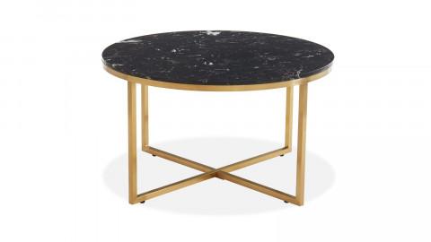 Table basse ronde marbre noir & métal doré - Floyd - ELLE DECORATION