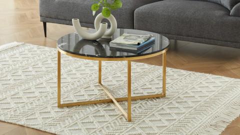 Elle Déco - FLOYD - Table basse ronde en pierre façon marbre noir - L80cm
