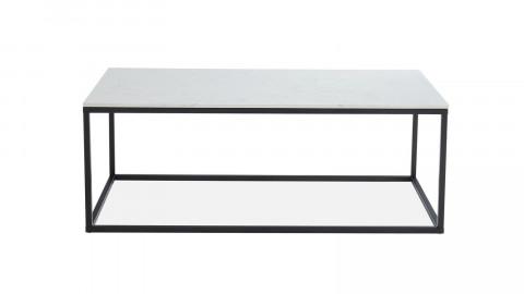Table basse rectangulaire marbre blanc & métal noir - Lennon - ELLE DECORATION
