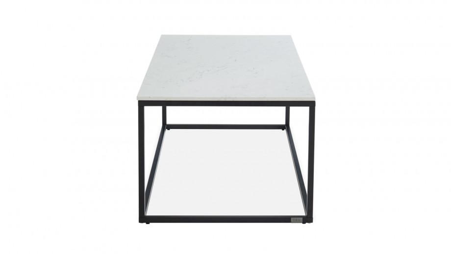 Elle Déco - LENNON - Table basse rectangulaire en pierre façon marbre blanc - L120cm