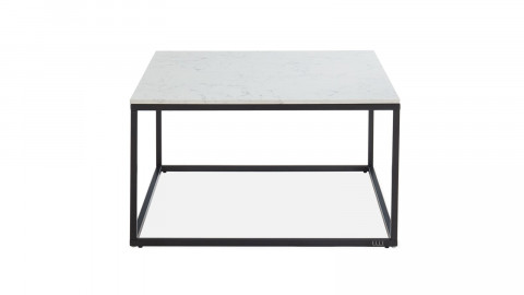 Table basse carrée marbre blanc & métal noir - Lennon - ELLE DECORATION